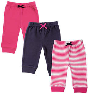 Luvable Friends Pink & Black Tapered Ankle Pants Set - Infant