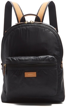 Paul Smith Leather-trimmed nylon backpack