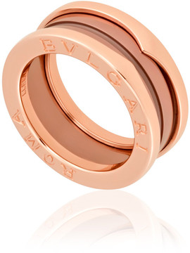Bvlgari B.Zero1 18K Pink Gold Cermet Ring - Size 54