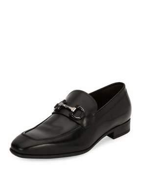 Salvatore Ferragamo Men's Gancini-Bit Leather Loafer, Black