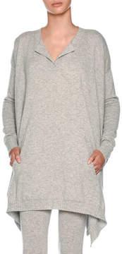 Agnona Split-Neck Heathered Cashmere Pullover Top