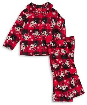 AME Sleepwear Little Girl's and Girl's Two-Piece Plaid Minnie Pajama Set