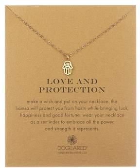 Dogeared 14K Yellow Gold Vermeil 'Love & Protection' Cutout Hamsa Hand Pendant Necklace