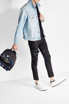 Dolce & Gabbana Denim Backpack with Patches - BLUE - STYLE