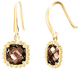 Bliss Smoky Crystal & 18k Gold-Plated Cushion-Cut Drop Earrings