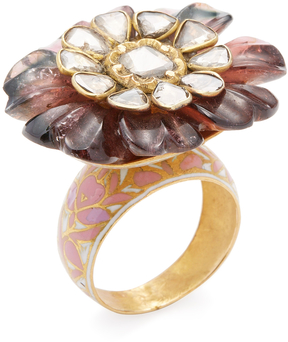 Amrapali Women's 18K Yellow Gold, Tourmaline & 1.60 Total Ct. Diamond Cocktail Flower Ring