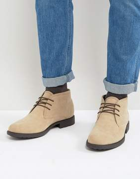 Asos Lace Up Chukka Boots In Stone Faux Suede And Contrast Sole