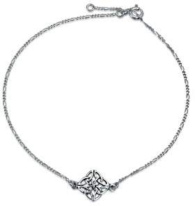 Celtic Bling Jewelry 925 Sterling Silver Knotwork Anklet Bracelet 10 Inch.
