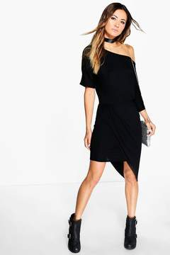 boohoo Verity Off Shoulder Rouched Wrap Dress