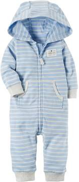 Carter's Baby Boy Turn Me Around Bear Striped Hoodie Microfleece Coverall