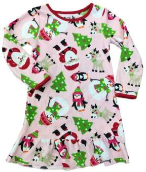 Carter's Girls Pink Fleece Santa & Friends Nightgown Christmas Holiday Gown