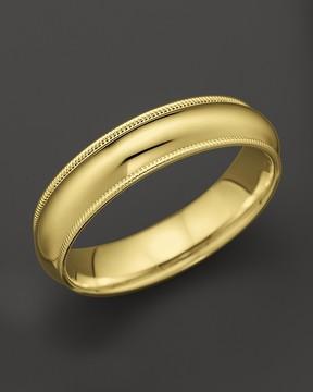 Bloomingdale's Men's 14K Yellow Gold Comfort Feel Milgrain Wedding Band - 100% Exclusive