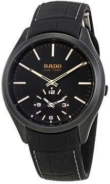 Rado Hyperchrome Dual Timer Black Dial Leather Men's Watch