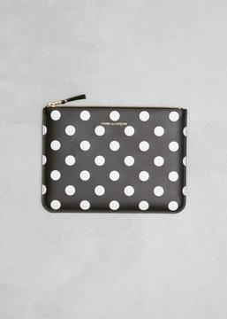 Comme des Garcons WALLET black dots printed leather line zip pouch