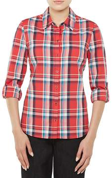 Allison Daley Long Roll-Tab Sleeve Plaid Print Button-Front Shirt