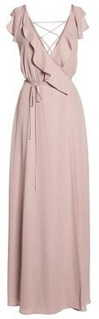 WAYF Women's Jamie Ruffle Wrap Gown