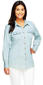 Denim & Co. As Is Stretch Denim Long Sleeve Button Front Shirt