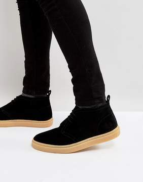 Fred Perry Hawley Mid Suede Desert Boots in Black