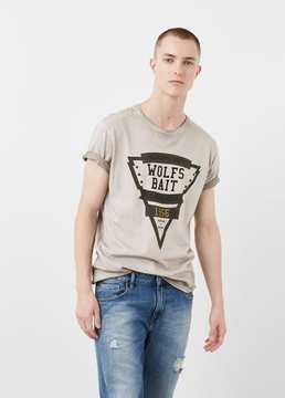 Mango Outlet Printed cotton t-shirt