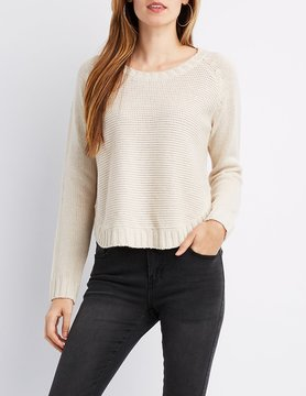Charlotte Russe Pointelle Crew Neck Sweater