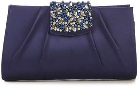 Kate Landry Satin Embellished-Tab Clutch