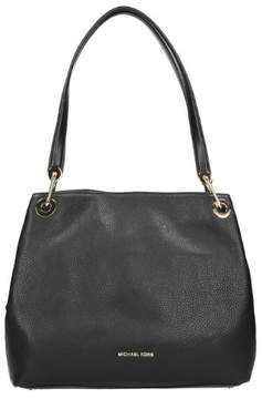 Michael Kors Raven Large Leather Shoulder Tote - BLACK/SILVER - STYLE