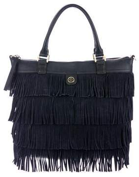 Tory Burch Leather & Suede Fringe Satchel - BLUE - STYLE