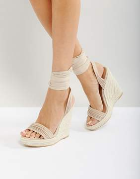 Call it SPRING Cadoilla Nude Espadrille Ankle Tie Sandals