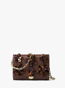 Michael Kors Yasmeen Small French Calf Floral Clutch - BROWN - STYLE