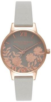 Olivia Burton Women's Lace Detail Leather Strap Watch, 30Mm