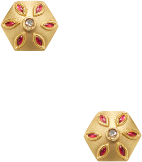 Artisan Women's 18K Yellow Gold & 0.16 Total Ct. Diamond Floral Stud Earrings