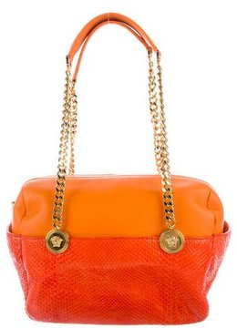 Versace Snakeskin-Trimmed Shoulder Bag