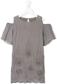 European Culture Kids cold-shoulder crinkled dress