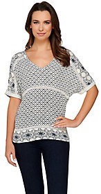 C. Wonder Embroidery Print Crinkle Chiffon Top with Lace