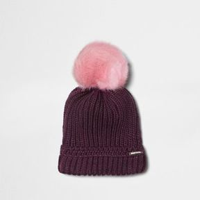 River Island Womens Burgundy faux fur bobble beanie hat