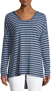 Allen Allen Striped Drop-Shoulder Hoodie