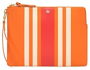 Tory Burch Foundation Striped Large Pouch - DRY ORANGE - STYLE