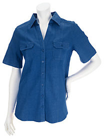 Denim & Co. As Is Stretch Denim Short Sleeve Camp Shirt