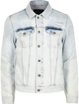 River Island Mens Light blue acid wash denim jacket
