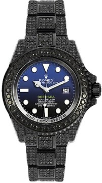 Rolex Deepsea 116660 PVD with Black Diamonds Black and Blue Dial Automatic 44mm Mens Watch