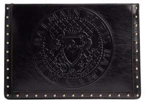 Balmain Mini Domaine Embossed Coin Calfskin Bag