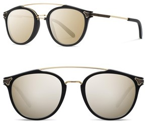 Shwood Men's Kinsrow 49Mm Acetate & Wood Sunglasses - Black/ Gold Mirror