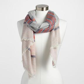 World Market Red, White and Blue Stripe Jacquard Scarf