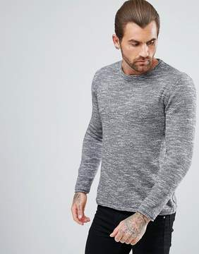 Pull&Bear Crew Neck Knitted Sweater In Gray