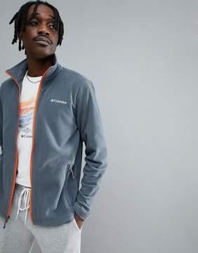 Columbia Fast Trek Lightweight Full Zip Fleece in Gray with Orange Trim