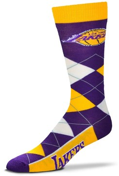 For Bare Feet Adult Los Angeles Lakers Argyle Line Up Crew Socks