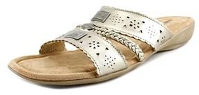 Minnetonka Gayle Ww Open Toe Leather Slides Sandal.