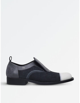 Comme des Garcons Panelled suede and leather slip-on shoes