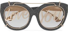 Alice + Olivia Alice Olivia - Walker Cat-eye Glittered Acetate And Gold-tone Sunglasses - Charcoal