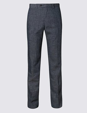 Marks and Spencer Grey Linen Miracle Regular Fit Trouser